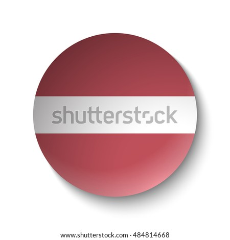 White paper circle with flag of Latvia . Abstract illustration
