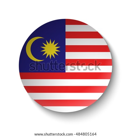 White paper circle with flag of Malaysia. Abstract illustration