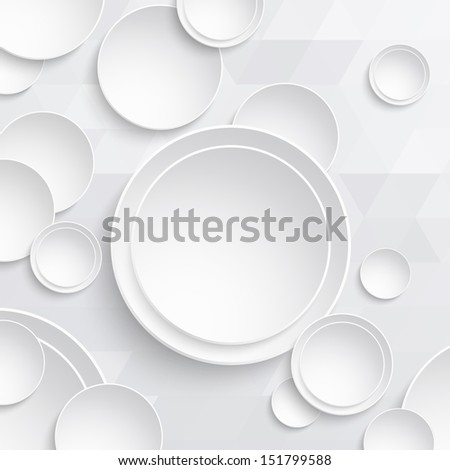 White paper circles on a triangular background. Design elements for text. Vector illustration. Abstract design. - stock vector