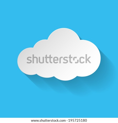 White paper cloud in flat style with long shadow. Illustration on blue background - stock vector