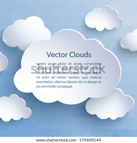 White paper clouds on a blue background. Design elements. Vector illustration. - stock vector