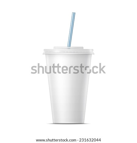 White paper cup template for soda or cold beverage with drinking straw, isolated on white background. Packaging collection. Vector illustration. - stock vector