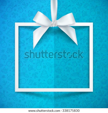 White paper gift box vector frame with silky bow and ribbon on blue Christmas pattern background - stock vector