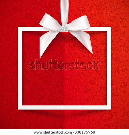 White paper gift box vector frame with silky bow and ribbon on red Christmas pattern background - stock vector