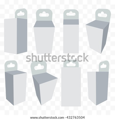 White paper hanging box set. Packaging container with hanging hole. Mock up template. Vector illustration on transparent background. - stock vector
