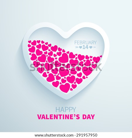 White paper heart filled with pink hearts for Valentine's Day congratulations - stock vector