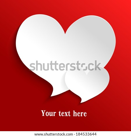 White paper heart icon on red background. Vector illustration