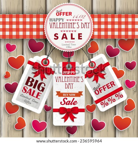 White paper heart with checked towel and price stickers on the wooden background. Eps 10 vector file.
