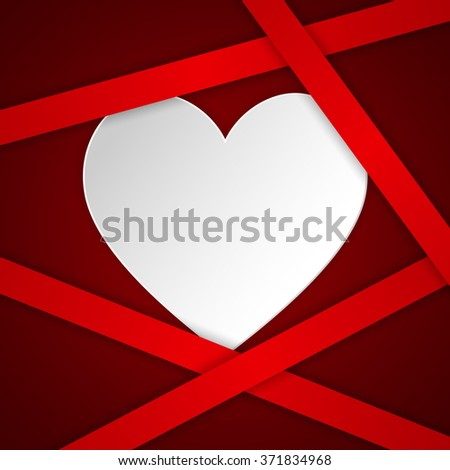 White  paper hearts Valentines day card on red background