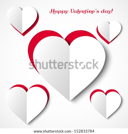 White paper hearts Valentines day card on white and red background