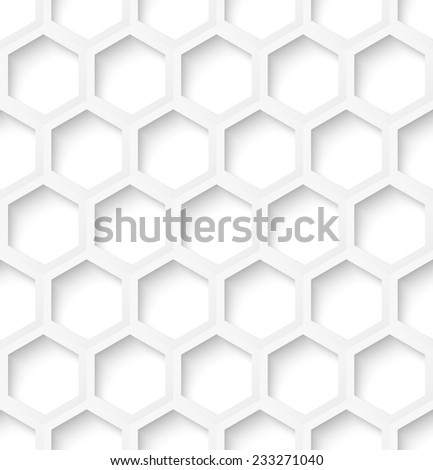 White paper hexagon abstract seamless pattern background with shadow. Vector illustration - stock vector