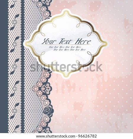 White paper label with charcoal lace (eps10); jpg version also available - stock vector