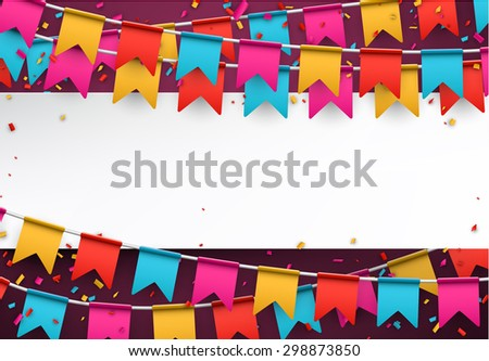 White paper note. Colorful celebration background with confetti. Vector Illustration.