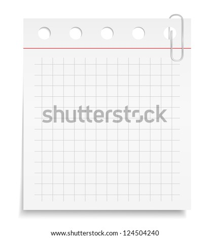 White paper note with clip, vector eps10 illustration - stock vector