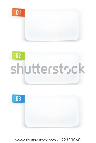 White paper numbered banners. - stock vector