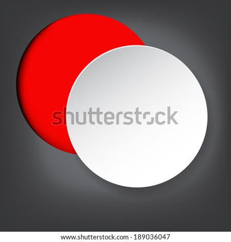 White paper on red frame against grey background