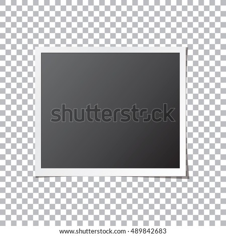 White paper photo frame isolated mock up. Realistic photograph with blank space for your image. Detailed vector eps10 illustration.