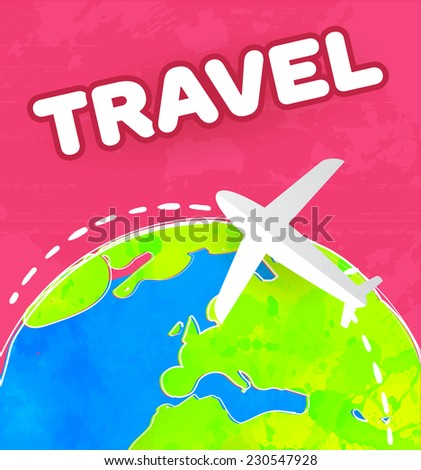 White paper plane flies over the colorful earth at pink background. Travel concept vector illustration. - stock vector