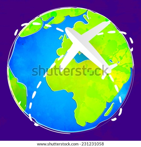 White paper plane flies over the colorful earth at violet background. Travel concept, vector illustration. - stock vector