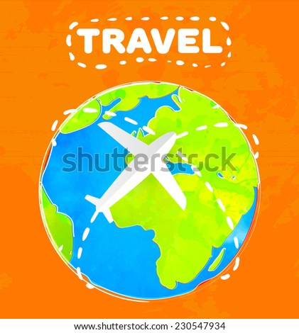 White paper plane is flying over the colorful earth at orange background. Travel concept vector illustration. - stock vector