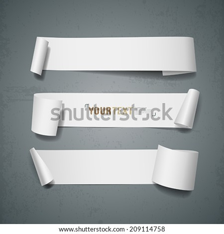 White paper roll long collections design for business background, vector illustration