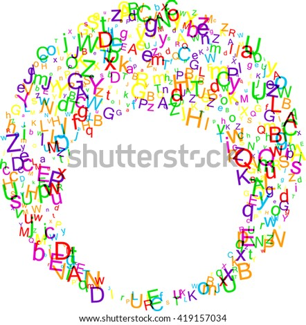 White paper round background with letters. Vector illustration.