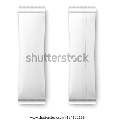 White paper sachet bag for coffee, sugar, salt, pepper on white background. Ready for your design. Packaging collection. Vector illustration. EPS10. - stock vector