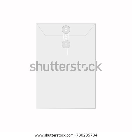 White paper sealed with string envelope template raster isolated on white