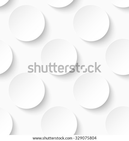 White paper seamless circle pattern background. Vector illustration - stock vector