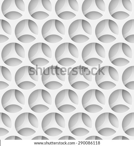 White paper seamless layered circle background with shadow. Vector illustration - stock vector