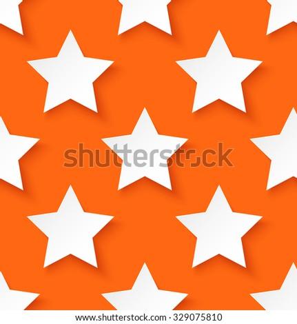 White paper seamless star pattern on orange background. Vector illustration - stock vector
