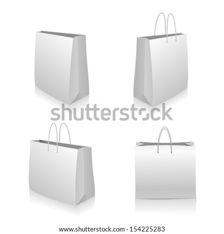 White paper shopping bag set