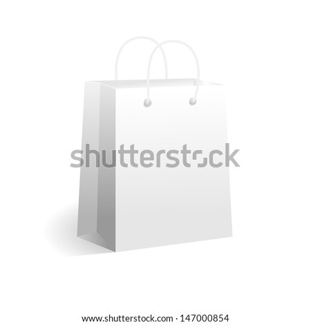 White paper shopping bag. Vector isolated on white background