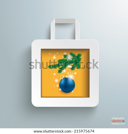 White paper shopping bag with christmas bauble on the grey background. Eps 10 vector file. - stock vector