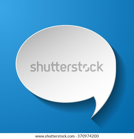 White paper speech bubble on blue background. Vector eps10 illustration - stock vector