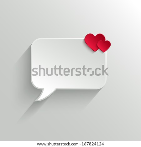 White Paper Speech Bubble With Red Hearts. Valentine's day Background - stock vector