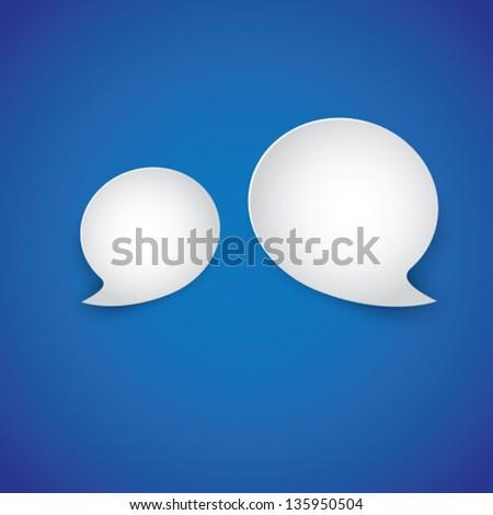 White paper speech bubbles on blue gradient background- vector illustration. - stock vector