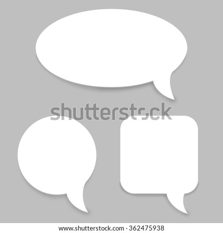 White paper speech bubbles vector template. - stock vector