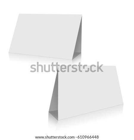 Blank White Paper Stand Table Holder Stock Vector