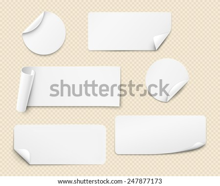 White paper stickers of various shapes with twisted angles. Vector illustration