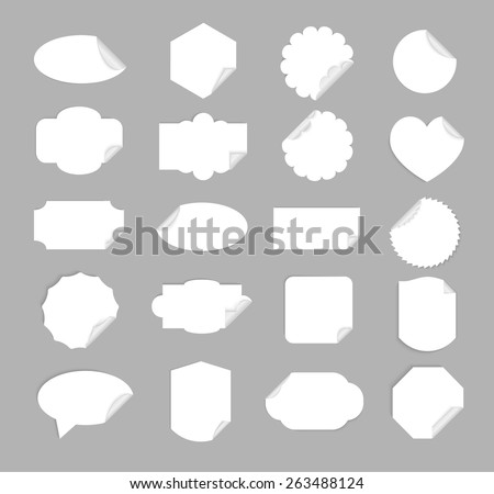 White paper stickers templates set isolated. Includes square, rectangular, round, heart shaped, speech bubble etc backgrounds, vector illustration