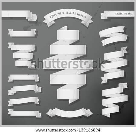 White paper texture ribbons - Collection No.1- Eps 10 - stock vector