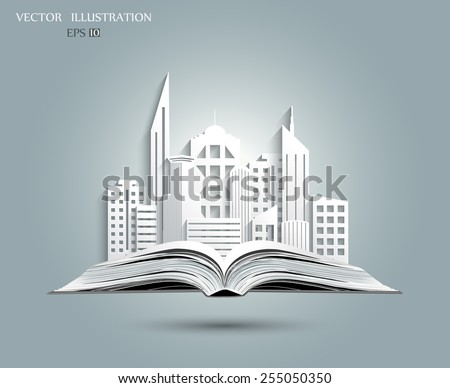 White paper the city on the open book. Vector illustration. The concept on the subject of nedvijimosti - stock vector