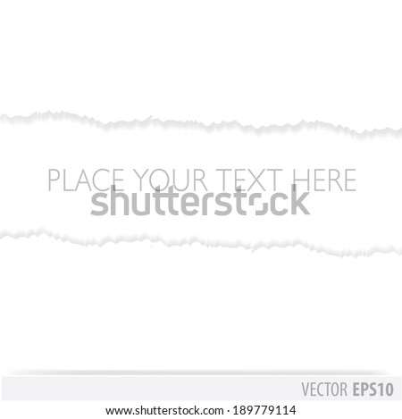 White paper torn in the middle, with a white background - stock vector