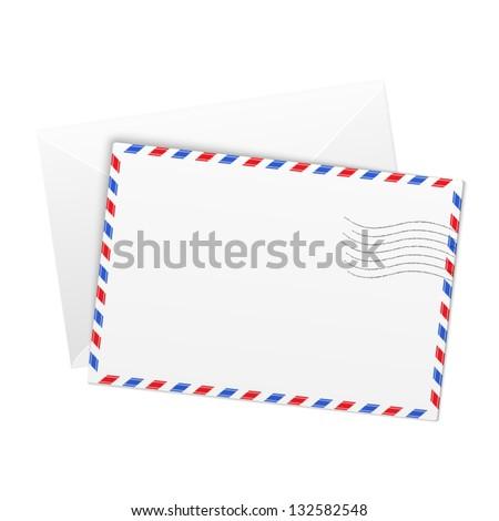 White paper vector airmail envelope - stock vector