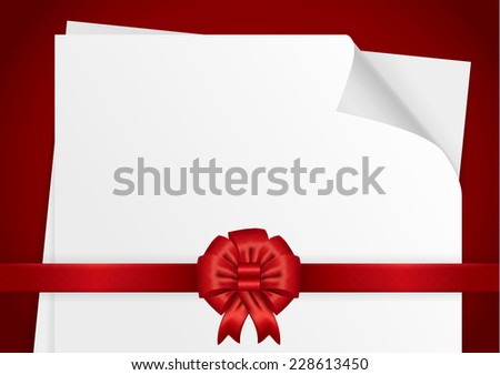 White paper with a red ribbon horizontal vector illustration - stock vector