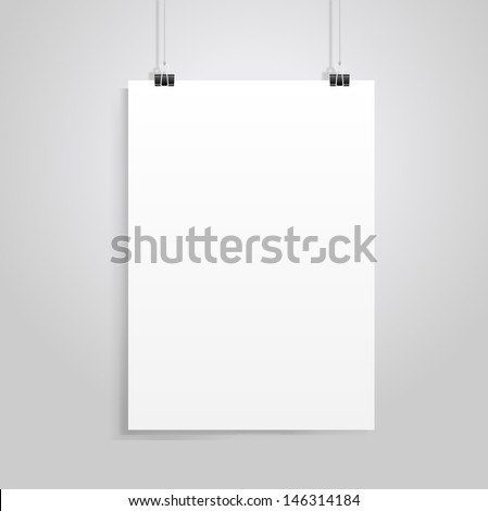 white paper with clip vector - stock vector