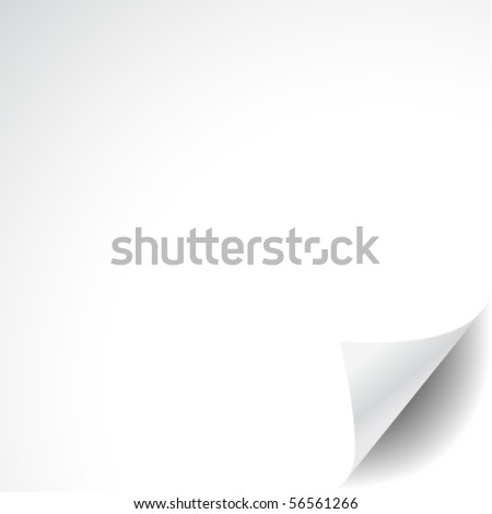 White paper with corner curl - stock vector