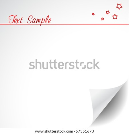 White paper with corner curl and text space - stock vector