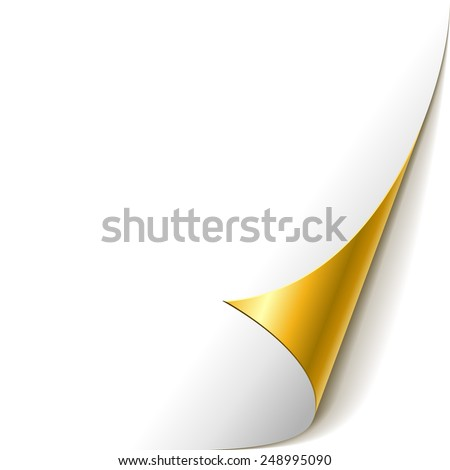 White paper with golden rolled corner vector template. - stock vector
